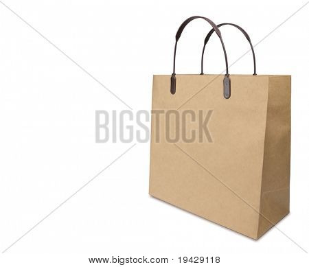 Typical brown paper shopping bag. Shot with wide lens at low angle .Isolated on pure white.