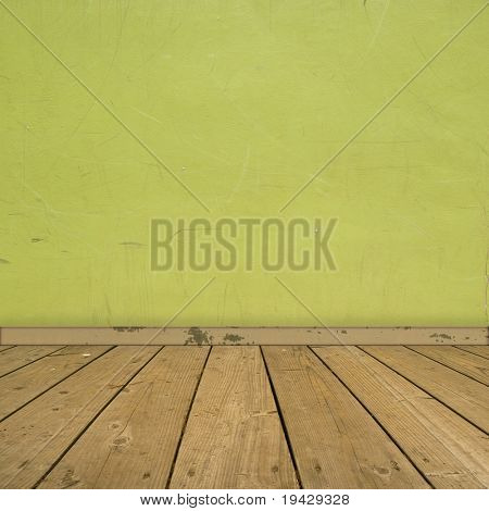 interior with yellow green wall and wooden floor