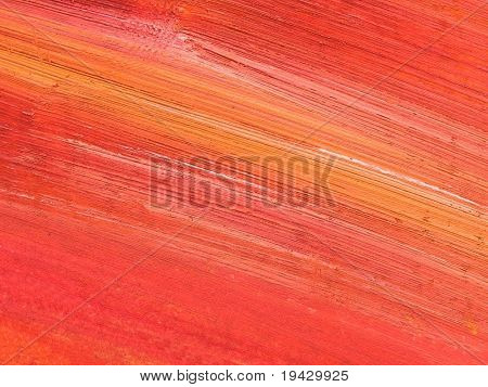red and orange oil painting brush strokes, high magnification