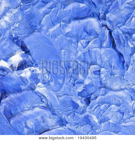 Oil painting texture. High magnification. Cobalt blue and white.