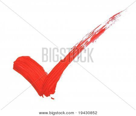 Check mark in red bold brush stroke