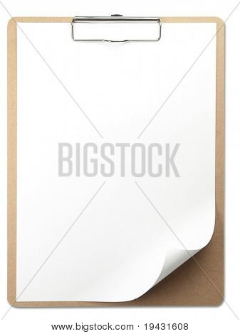 Vertical clipboard with white paper. page corner curled. Isolated on white.