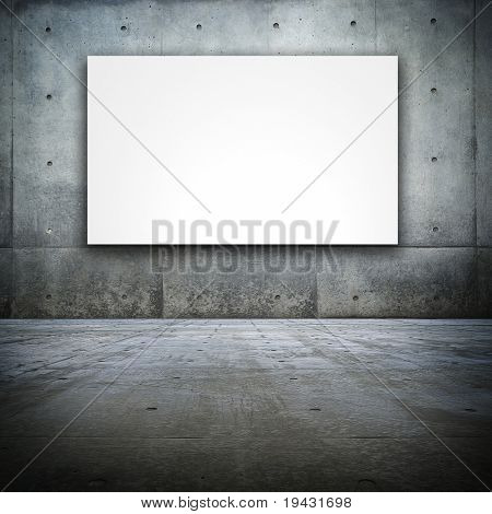 Grungy Bare concrete room with white screen board