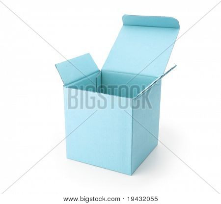 blue cardboard box with lid open, isolated on white.