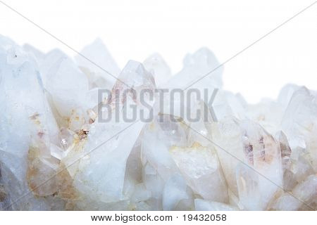 Quartz crystals isolated on white.