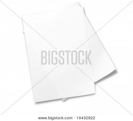Two sheets of memo papers isolated on white.