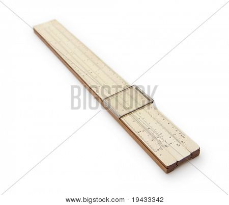 Vintage slide rule isolated on white.