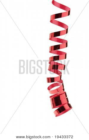 Dangling spiral metallic red ribbon isolated on white