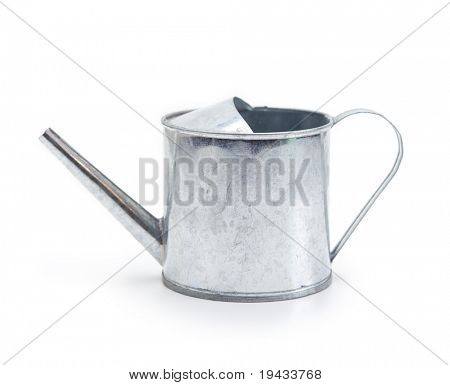 Tin watering can isolated on white.