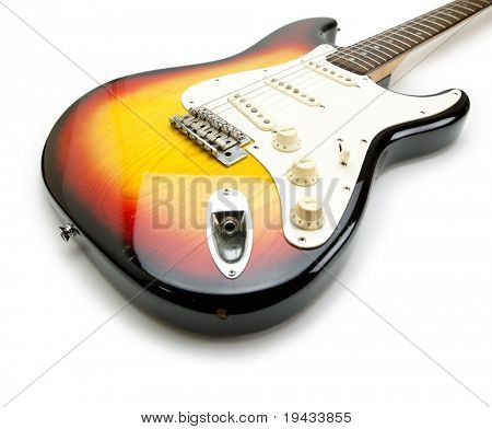 Electric guitar (solid body double cutaway type ) ,wide angle , isolated on white, vintage sunburst color