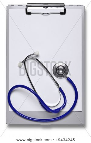 Photo of a metal hospital clipboard and stethoscope with blank paper to add your own notes, cut out on white with clipping path included.