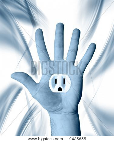 hand with electric power outlet