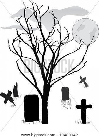 vector de escena del cementerio