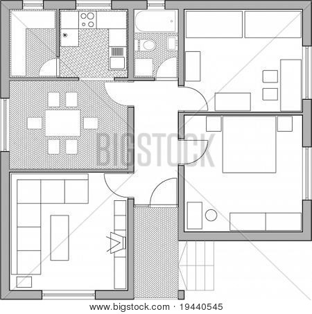 interior in home - vector draw