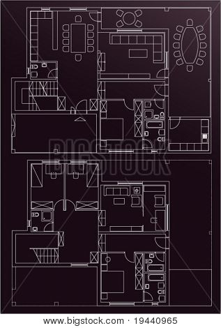 architectural draw of house - vector white on brown