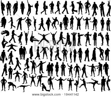 set of many different people silhouette