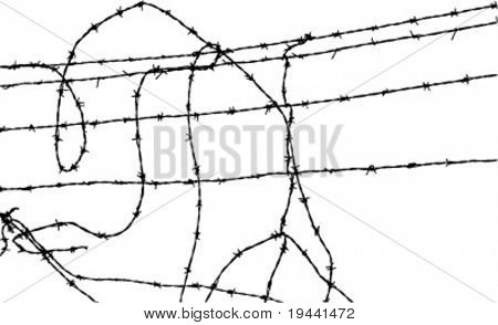 part of barb wire fence