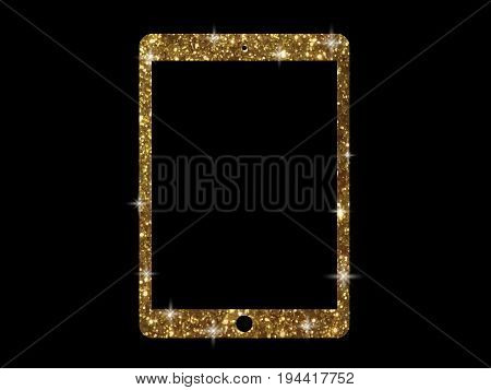Vector Golden Glitter Gold Color Flat Tablet Computer Icon