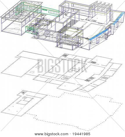 3D and 2D of school building