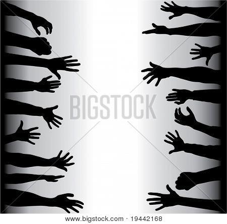 Hands grabbing