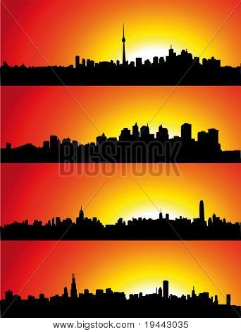 New York, Toronto, Hong Kong, Shanghai Skyline with Sunset.
