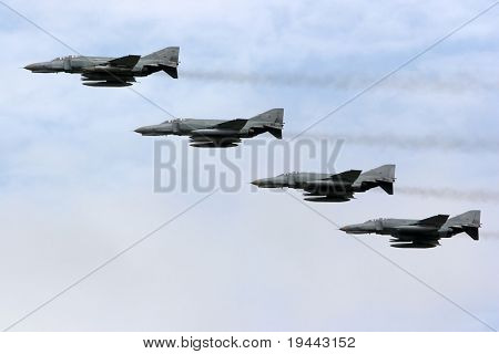 Phantom flying in formation at an airshow