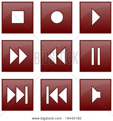 audio and video control buttons in vector design