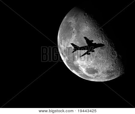 A380 Airplane in front of the moon