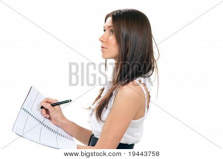 Woman Standing, Writing, Take Notes, Holding Textbook Notebook Organizer