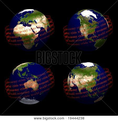 earth with world economic crisis in orbit