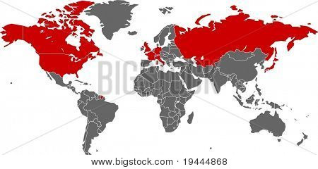G8 Nations on world map in vector art