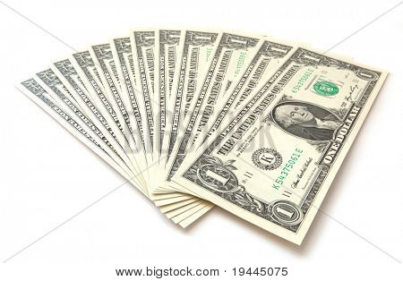 1 dollar bills isolated