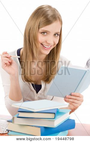 Student Teenager Woman Write Homework With Book