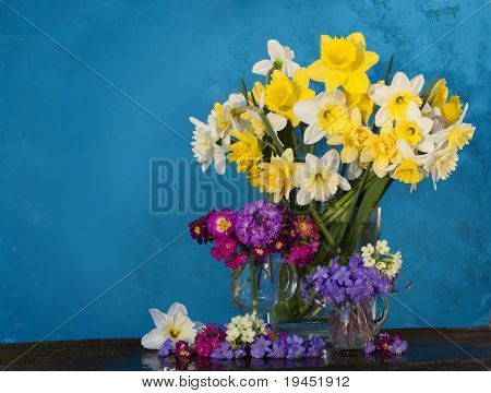 bouquet of flowers in the spring primroses narcissus