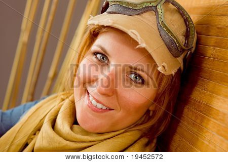 Young Woman Sunburned Face With Pilot Goggles