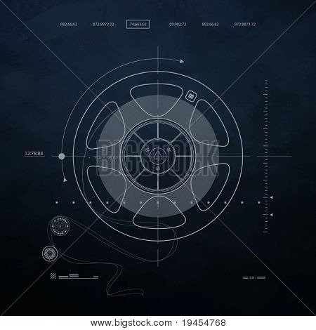 drawing reel of magnetic tape recording, Old musical equipment on a dark  background. blueprint