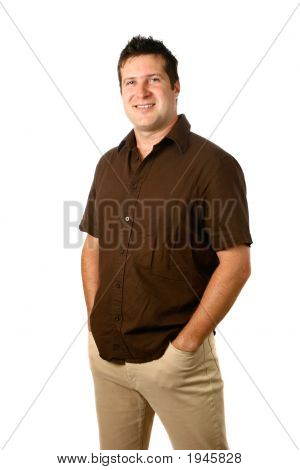 Man In Earthly Colored Casual Clothes