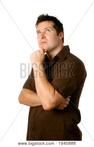 Man In Thinking Pose Isolated On White