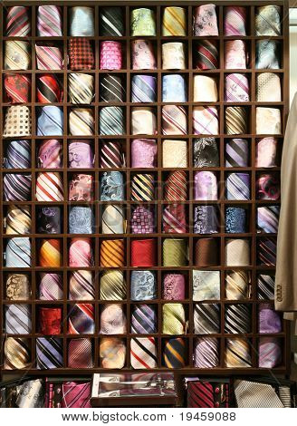 Male neck ties in a modern fashion store