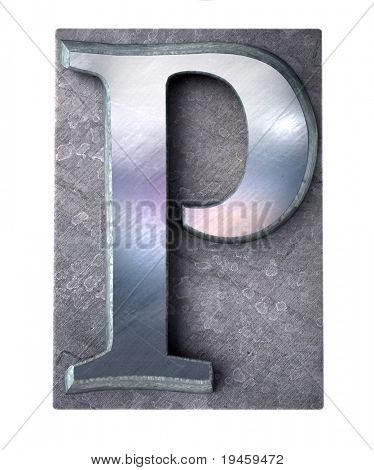 3D rendering una mayúscula P en metálico mecanografiado impresión (parte de un alfabeto que empareja)