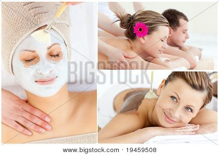 Collage of a cute couple relaxing in a Spa centre