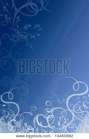 Floral Deep Blue Background