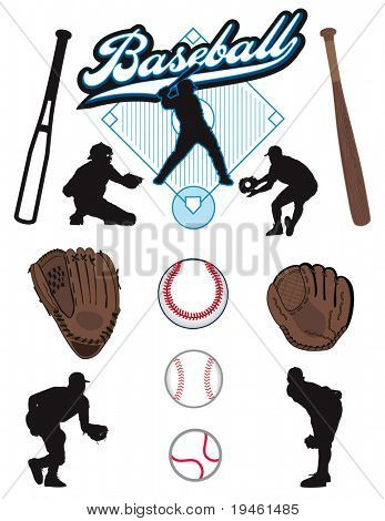 A collection of illustrated baseball elements. Batts, balls, athletes, mitts or gloves