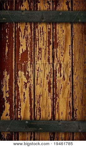 Dark Wood barn door with peeling paint texture