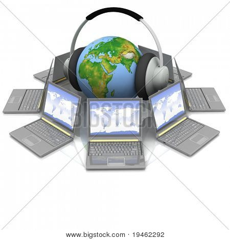globe in headsets in the middle laptops