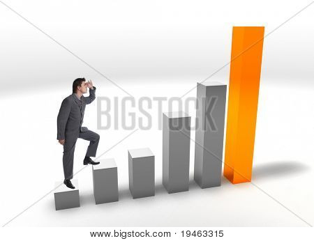 Modern Businessman on a finance bar graphic aiming for the top