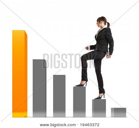 Young attractive business woman stepping up on a 3d graphic