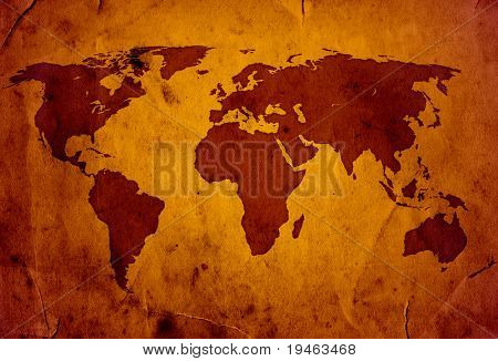 XXL World Map grunge style high quality
