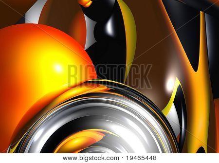 silver sphere&orange bubble