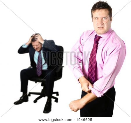 Agressive Businessman Defending Colleague